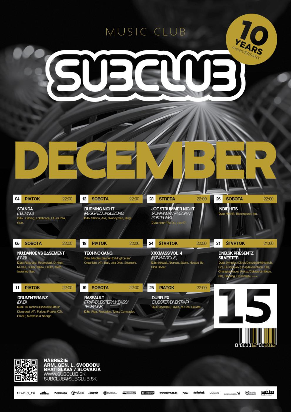 December v Subclube- ikona rakúskej scény, spomienka na Joe Strummera a vianočné sviatky BOMBING