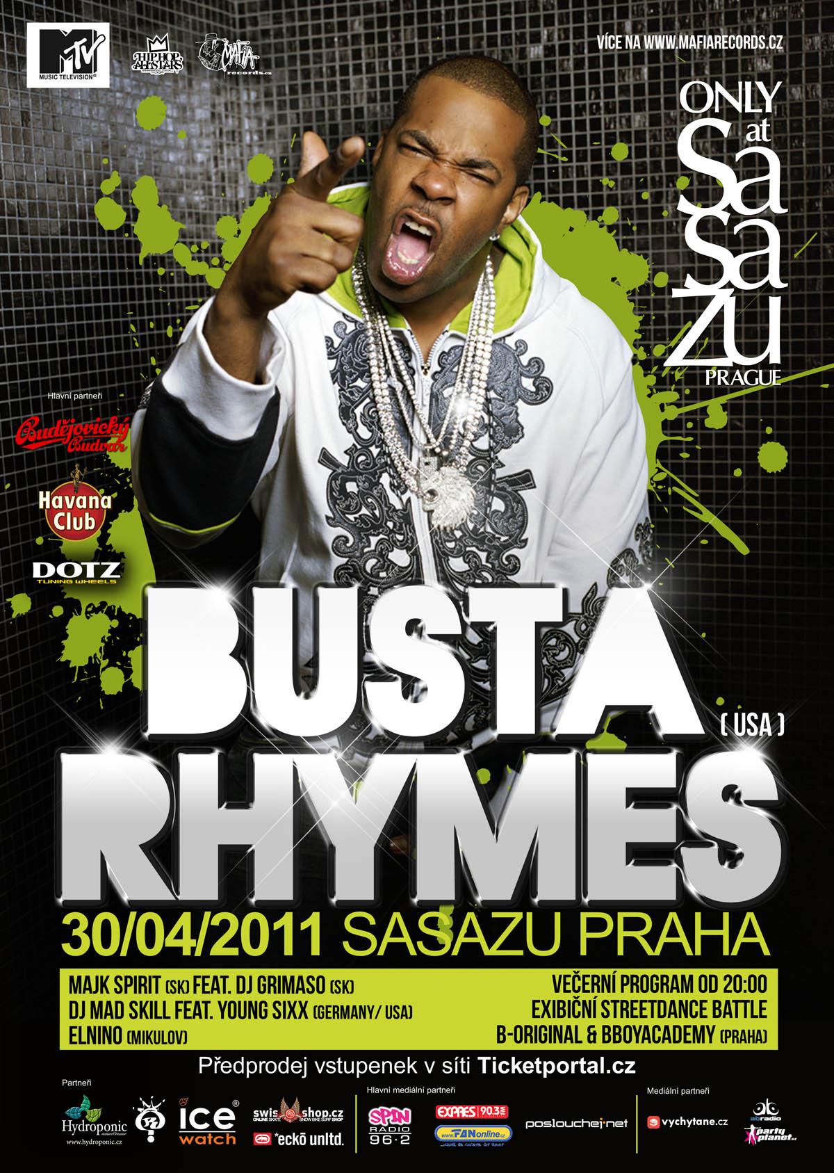 30.4. BUSTA RHYMES LIVE IN PRAGUE!! - Oficiální program je venku! BOMBING