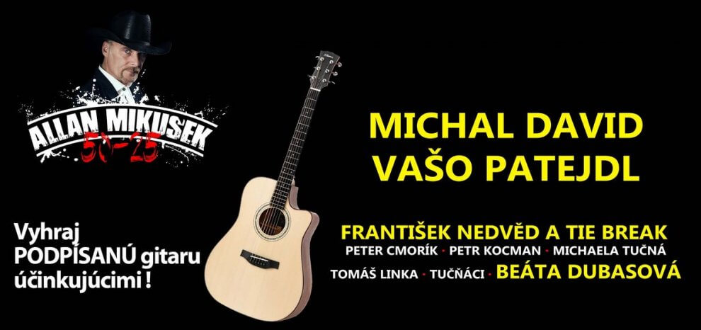 Allan Mikušek, Michal David a Vašo Patejdl odovzdajú fanúšikovi gitaru podpísanú slovenskými a českými legendami BOMBING